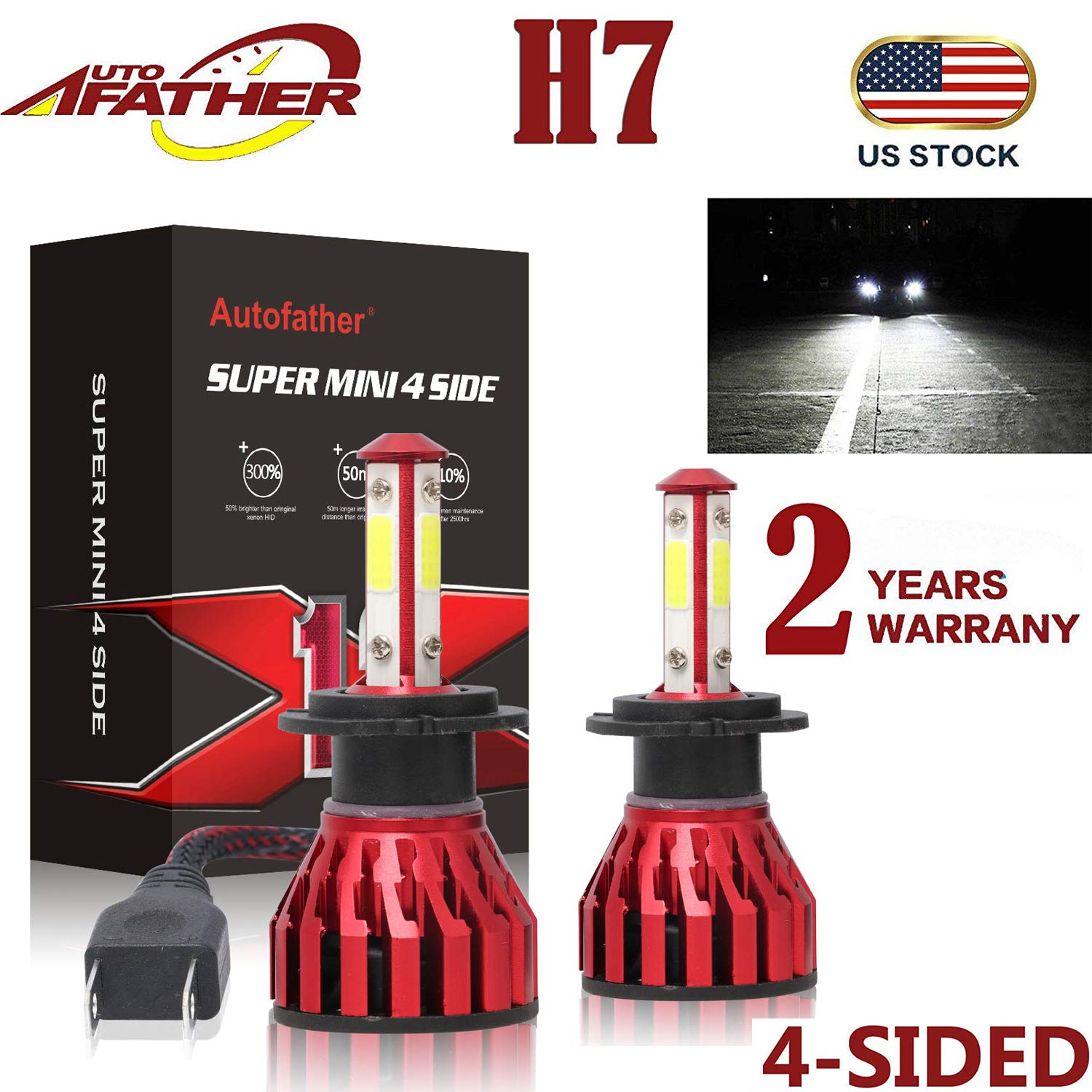 H7 LED Headlight Bulb, 40W 6000K(White Light) 20000LM Extremely Brigh  High/Low Beam/Fog Light Bulbs Conversion Kits Car Driving Lamps Replacement  with