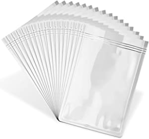 Resealable Mylar Ziplock Storage Bags - 100-Pack Smell-Proof Food-Saver Containers - Black Reusable Packaging for Cookies, Jewelry, Tea - Easy-View Transparent Window - 5 x 8 Inches