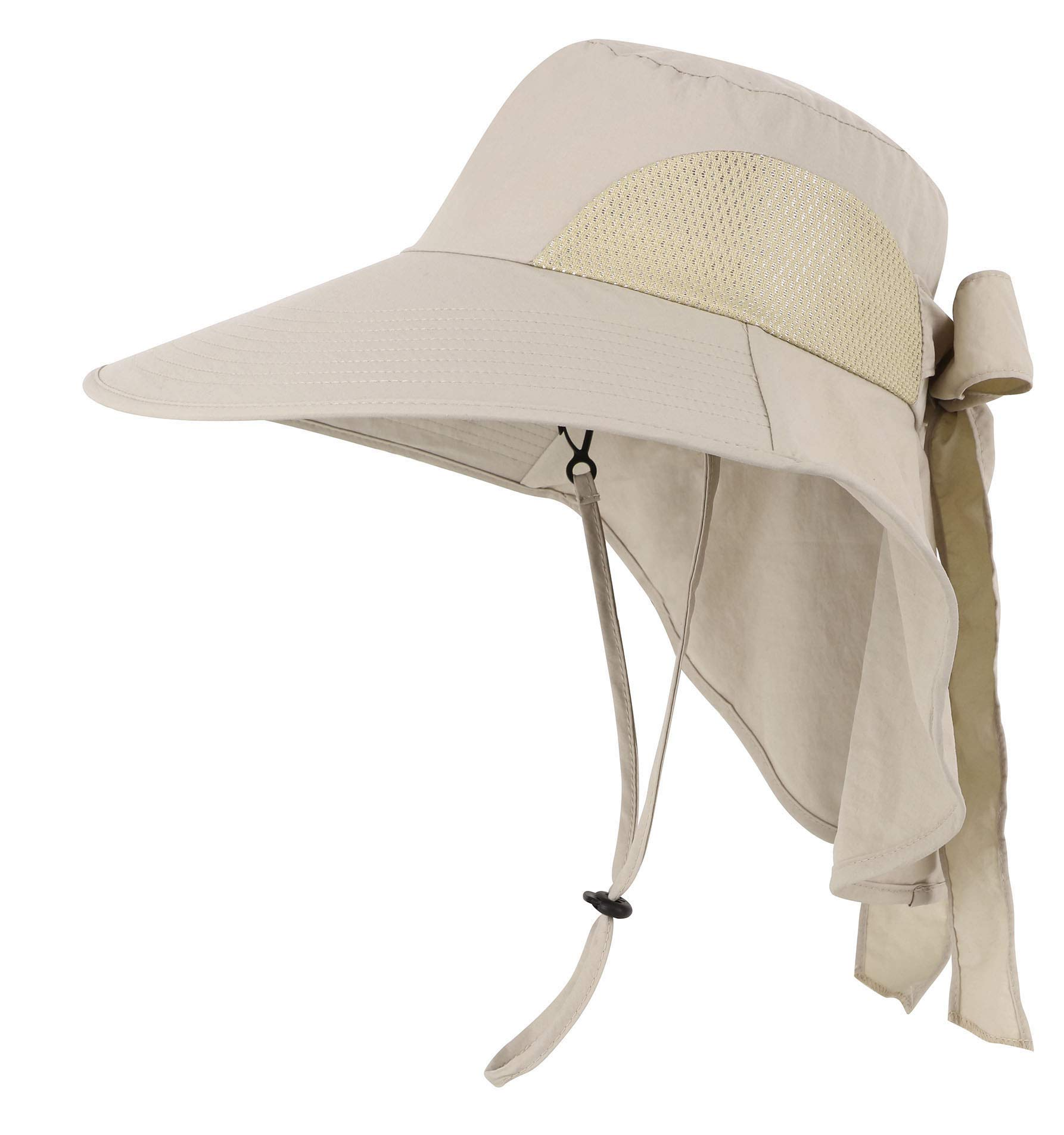 Womens Foldable Flap Cover UPF 50+ UV Protective Wide Brim Bucket Sun Hat Khaki by Toppers