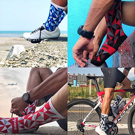 Grey and White Race Compression Fit and Breathable Guee Cycling Socks Geometric Print In Black UK 7.5-9.5