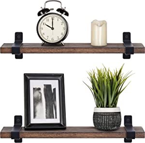 Mkono Wood Floating Shelves Rustic Modern Wall Mounted Storage Shelving with Brackets for Bedroom Bathroom Living Room Kitchen Office Set of 2, Brown