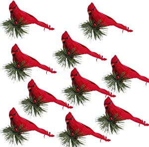 Oeey 10Pcs Realistic Lovely Cardinal Clip On Christmas Tree, Artificial Birds with Pine Branches Feathered Birds Ornaments for Christmas Decorations, Winter Theme, Wreaths