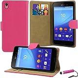 Sony Xperia M4 Aqua - Premium a libro in pelle custodia a portafoglio + Pellicola protettiva con panno per pulizia in microfibra + stilo capacitivo Touch
