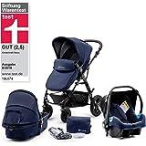Kinderkraft Moov 多功能三合一组合婴儿车 带婴儿座椅(最大承重:13kg) 深蓝色