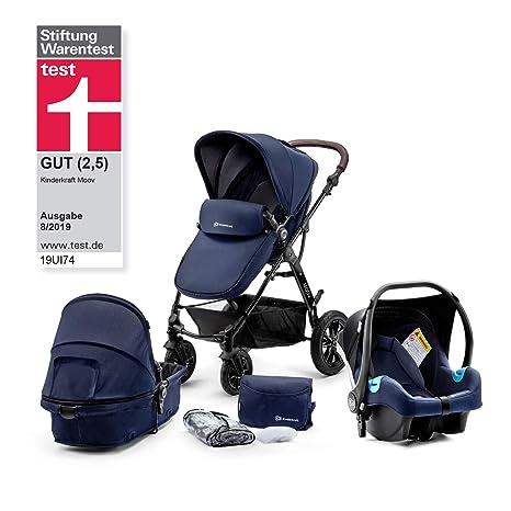 Kinderkraft Silla de paseo de bebe Moov 3en1 Trio Cochecito 3 piezas Multifunctional capazo silla de coche incluida ajuste del asiento Arnés de 5 ...