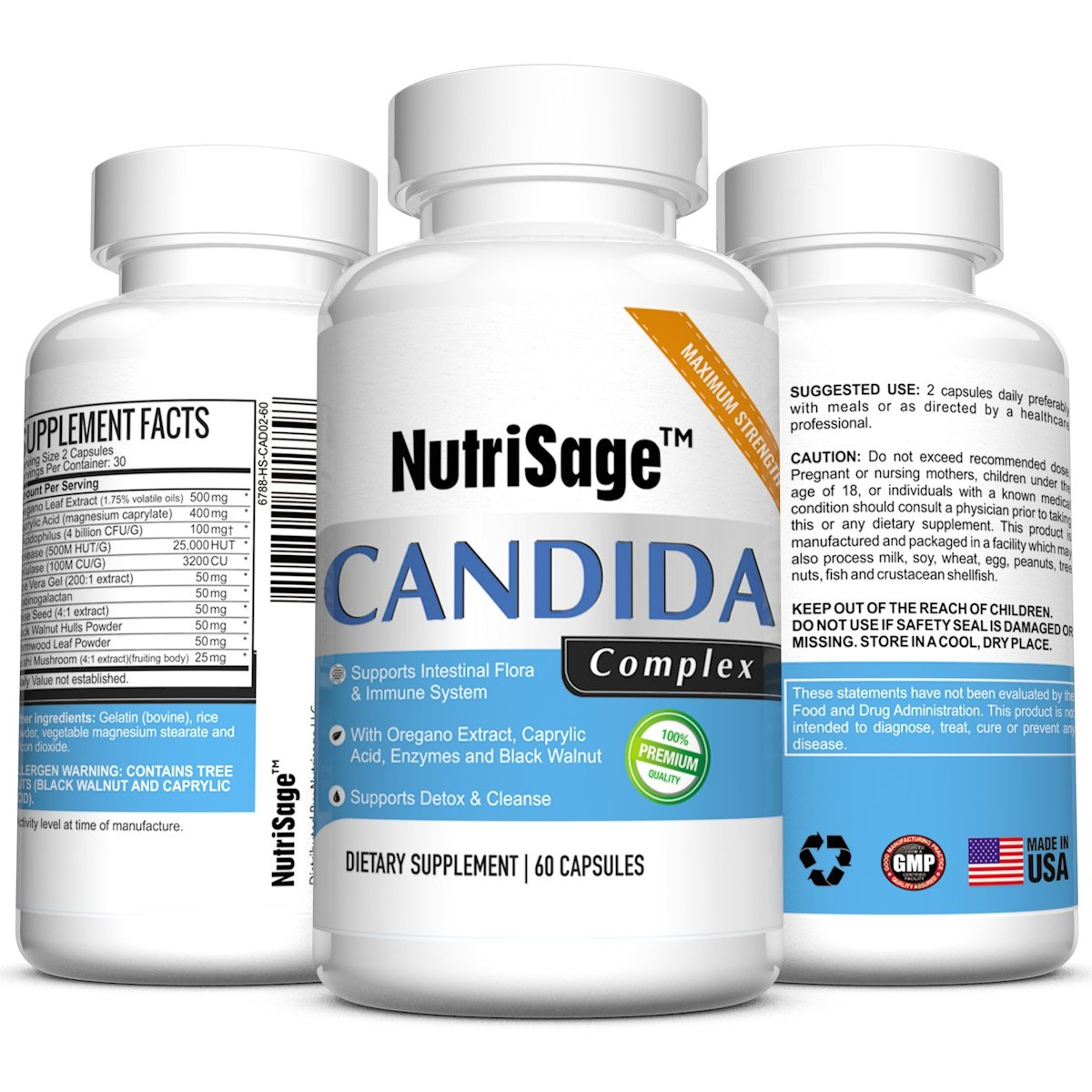 Premium Candida Cleanse - Fights Candida Yeast Infection & Overgrowth -Natural Cleansing Detox Supplement with Antifungal Cleaner Herbs, Oregano & Caprylic Acid For Candida Fungus - Order Risk Free by NutriSage
