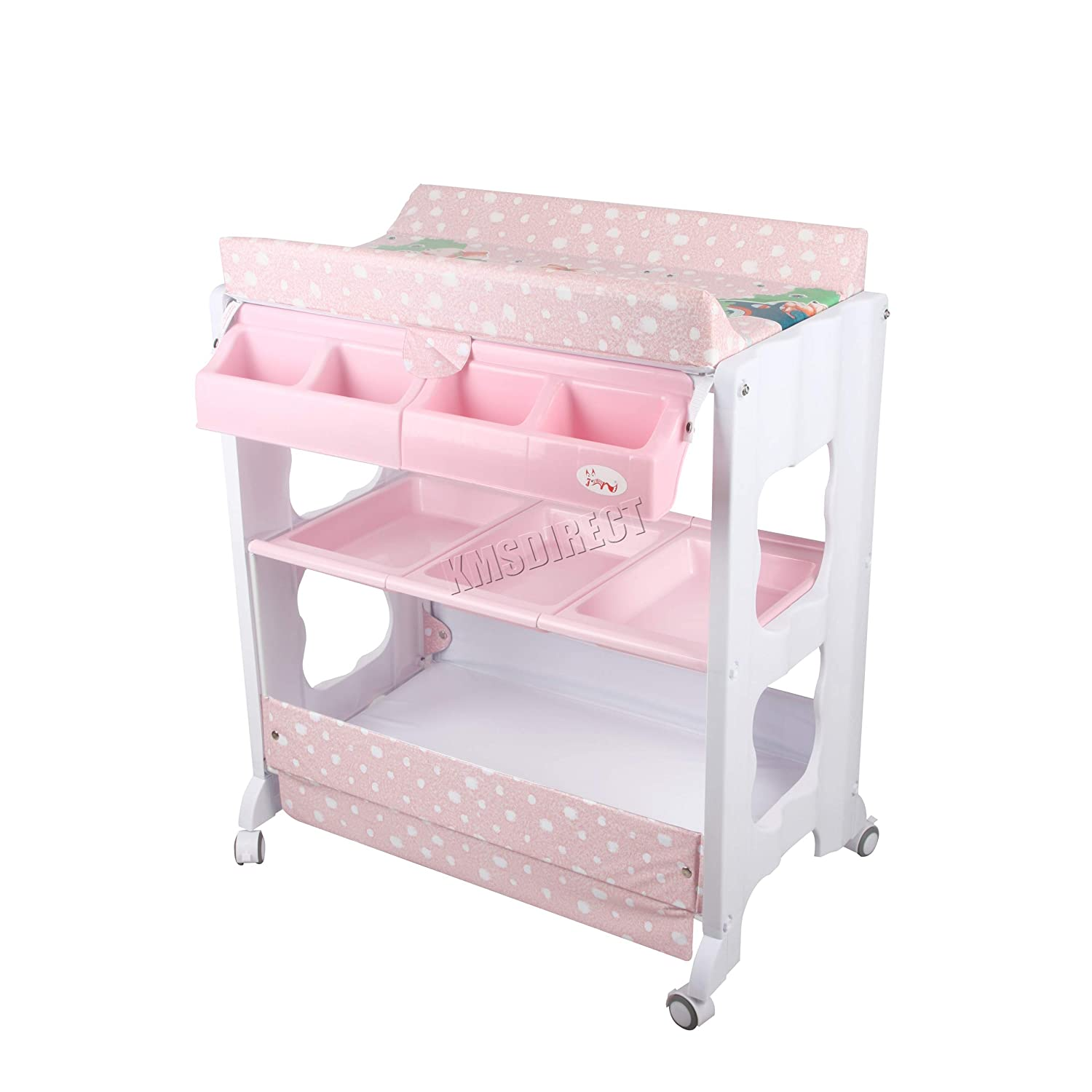 FoxHunter 2 in 1 Baby Bath Changing Dresser Station Table Unit Storage Towel Rail Infant Nursery Trays Furniture BCT02 Pink KMS BCTW01