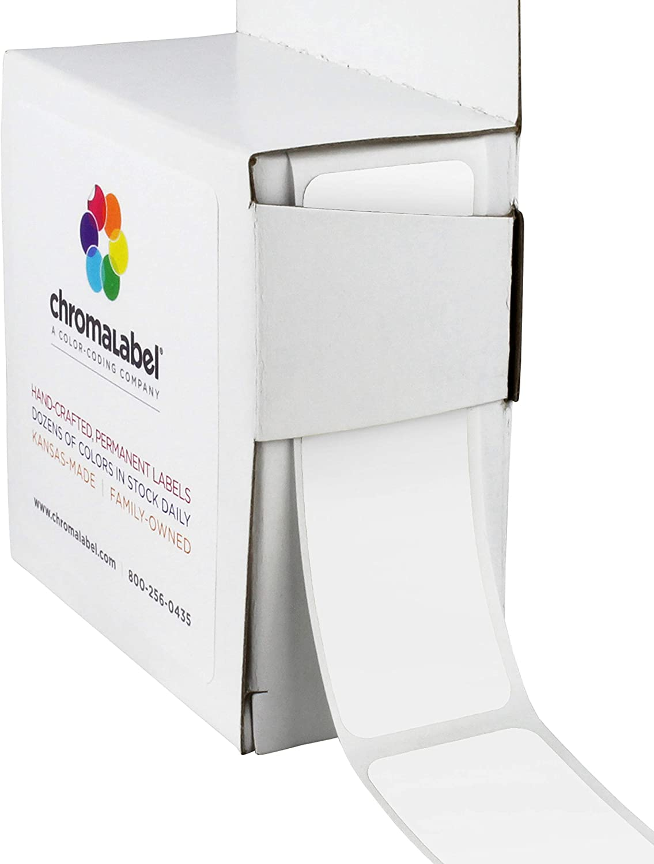 ChromaLabel 1 x 3 Inch All Purpose Permanent Color-Code Rectangle Labels, 250/Dispenser Box, White