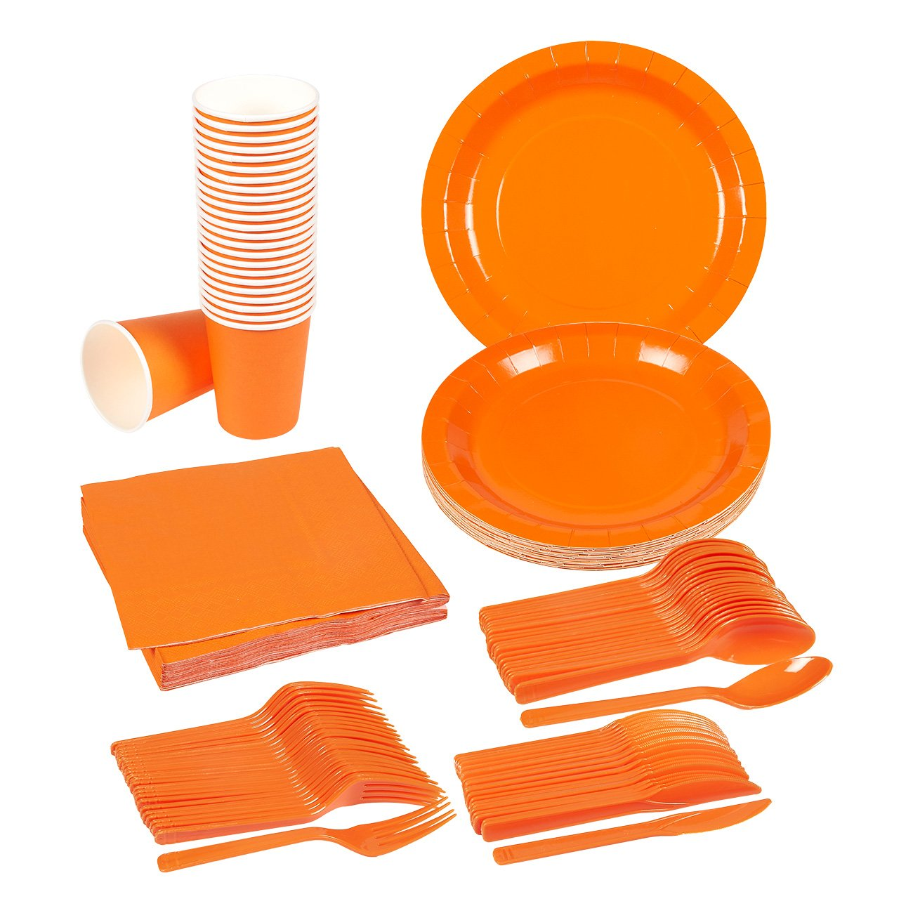 Disposable Dinnerware Set - 24-Set Paper Tableware - Dinner Party Supplies for 24 Guests, Including Knives, Spoons, Forks, Paper Plates, Napkins and Cups, Neon Orange