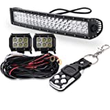 """22inch 120W Led Work Light Bar Curved Spot Flood Combo Beam with 4"""" Cube led Pod Lights and 3 Lead Wiring Harness kit W/Rubber Isolators Noise Vibration Dampener Silencers For Offroad"""