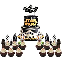 25 PCS Star Wars Cake Topper Cupcake Toppers Decorations Birthday Party Supplies for Outer Space Wars Theme Birthday…