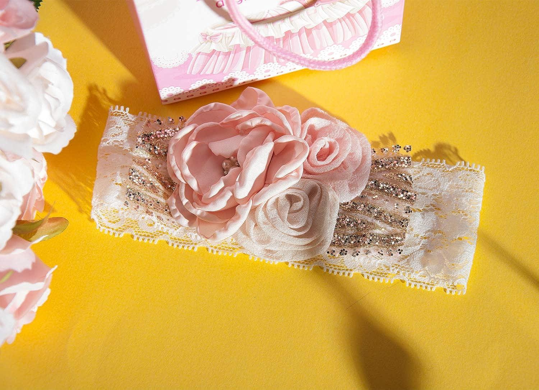 Yunko 2pcs Baby Girl Elastic Headbands Princess Hairband Party Feather Headbands Pink