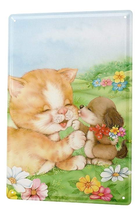 Cartel Letrero de Chapa XXL Dibujos Animados Prado del gato ...