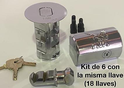 Kit de 6 cerraduras MVM modelo K con la misma llave (18 llaves)