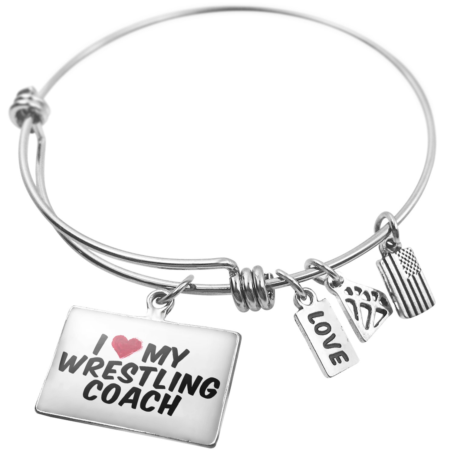 Expandable Wire Bangle Bracelet I heart love my Wrestling Coach - NEONBLOND by NEONBLOND