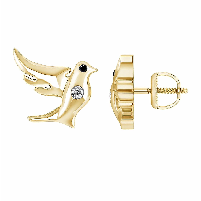 0.05 Ct Black /& White Diamond Flying Dove Stud Earrings in 14K Yellow Gold Fn 925 Sterling Silver