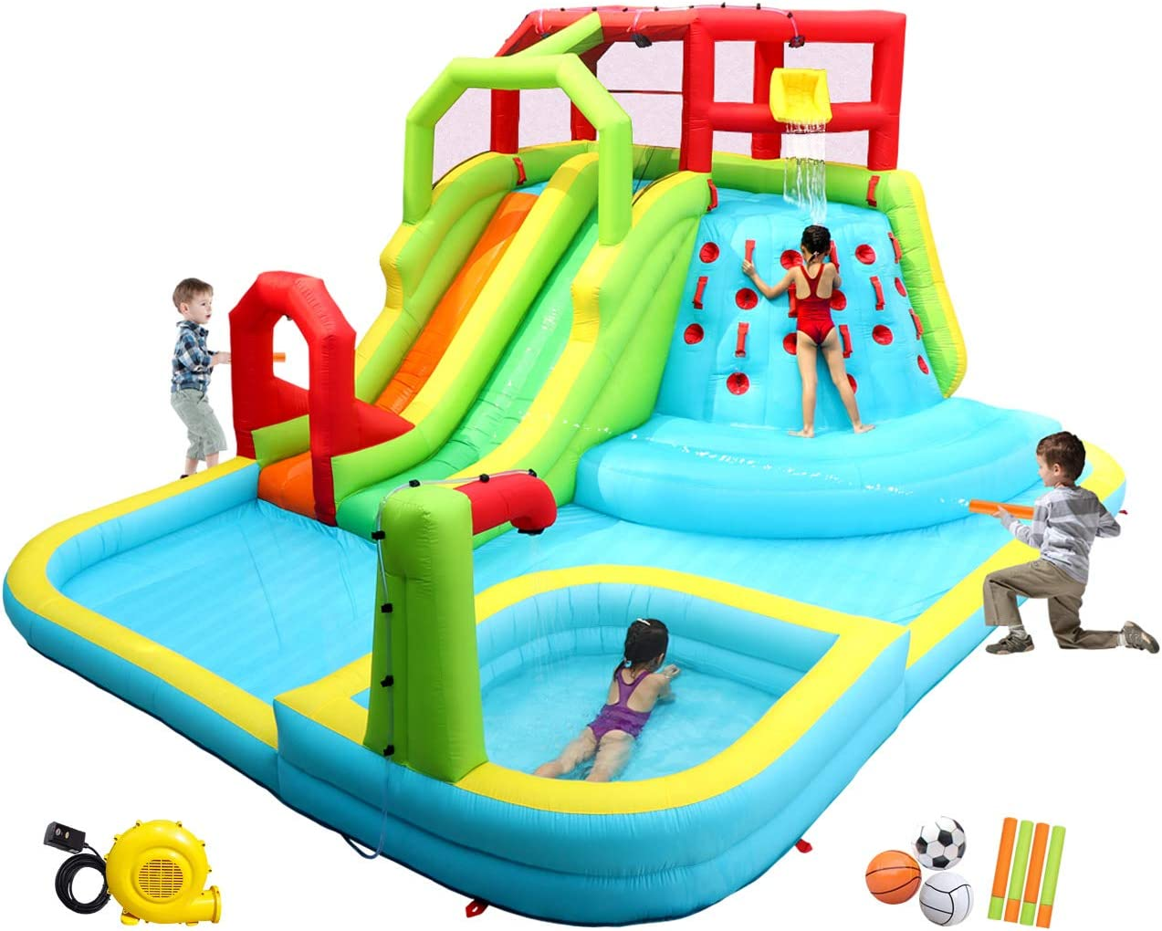 Amazon Com Wellfuntime Inflatable Water Slide Park With Splash Pool Climb The Wall 3 Inflatable Sport Balls And 4 Water Guns Water Slide With Air Blower Sports Outdoors