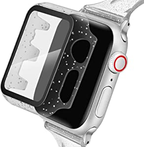Blingbrione Glitter Case with Screen Protector Compatible for Apple Watch Case 38mm,Hard PC Resin Ultra-Thin iPhone Watch Bling Full Bumper Cover,HD Clear Apple Watch Series 3 2 1 Shield-Snow Crystal