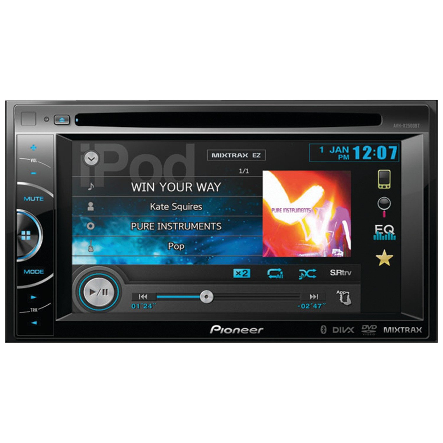 "Amazon.com: Pioneer AVH-X2500BT 2-DIN Multimedia DVD Receiver with 6.1""  WVGA Touchscreen Display: Car Electronics"