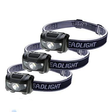 3-Pack Waterproof LED Headlamp (White and Red Lights), 4 Light Modes Lightweight Headlight for Running, Hiking, Hunting, Fishing, Camping