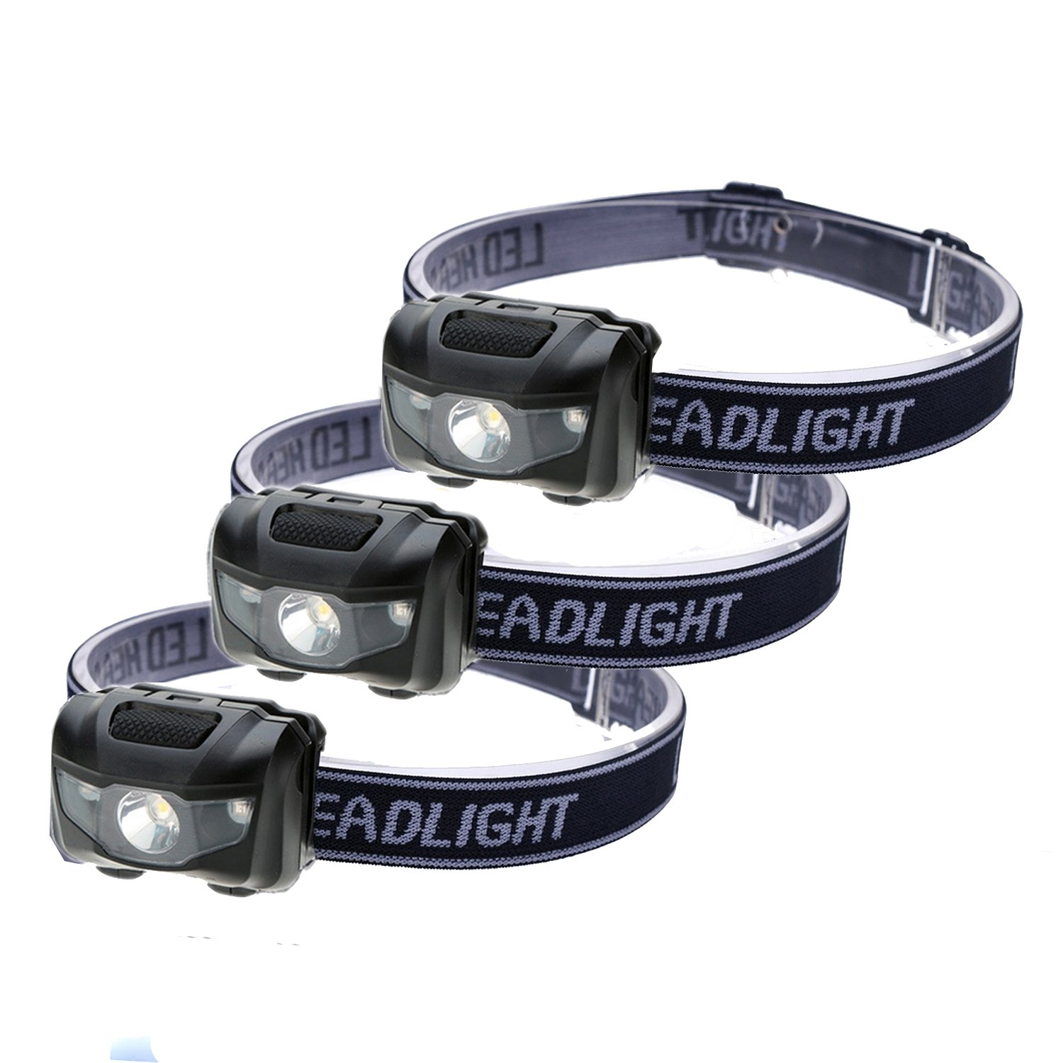 3-Pack Waterproof LED Headlamp (White and Red Lights), 4 Light Modes Lightweight Headlight for Running, Hiking, Hunting, Fishing, Camping by HappyOrange (Image #1)