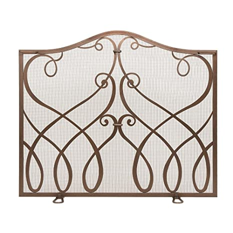 Cypher Wrought Iron Fireplace Screen Size Small Finish Roman Bronze Powder Coated
