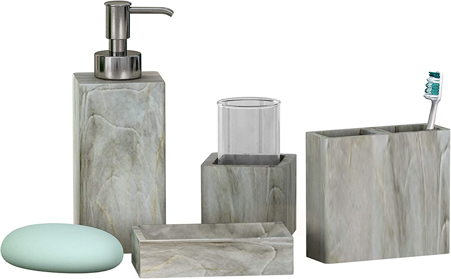NuSteel Resin Stone Hedge Bath Accessory Set for Vanity Countertops, 4 Piece Luxury Ensemble Includes Dish, Toothbrush Holder, Tumbler, soap and Lotion Pump, Marble Finish
