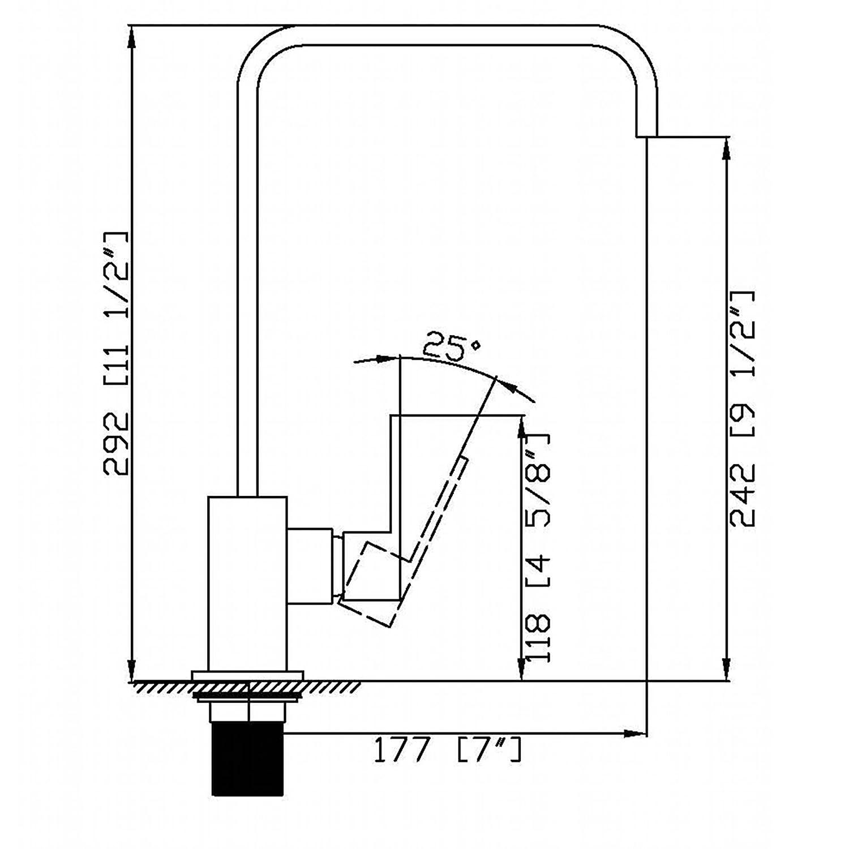 ENKI Italian Designer Square Kitchen Sink Mixer Taps Brushed Steel