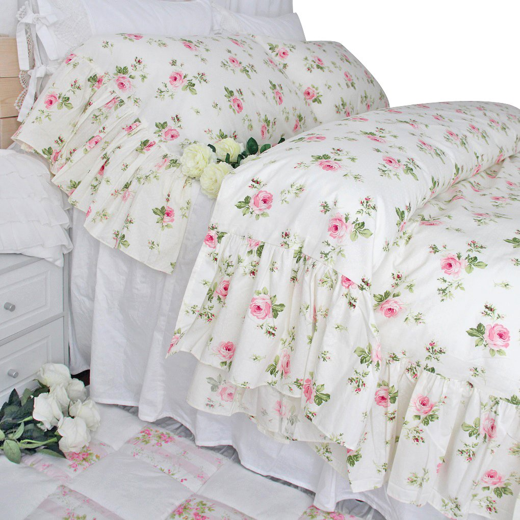 Queen's House Shabby Roses Printed Duvet Cover Cotton Bedding Queen Size