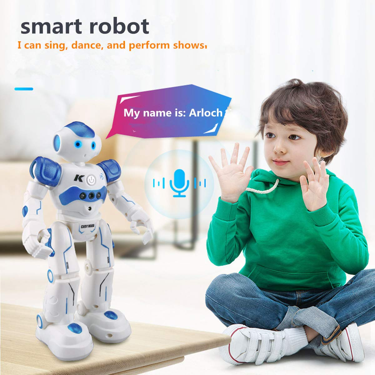 WEECOC Smart Robot Toys Gesture Control Remote Control Robot Kids Toys Birthday Can Singing Dancing Speaking Two Walking Models (White) by WEECOC (Image #6)