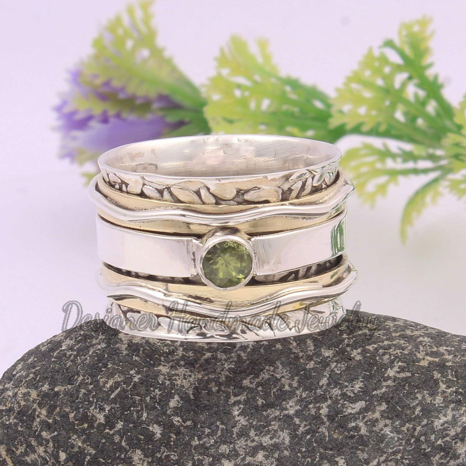 SILVER RING,SPINNER BAND SILVER JEWELRY PERIDOT GEMSTONE RING,SPINNER RING FAMILY RING,SILVER MEDITATION RING,THUMB RING,FIDGET RING