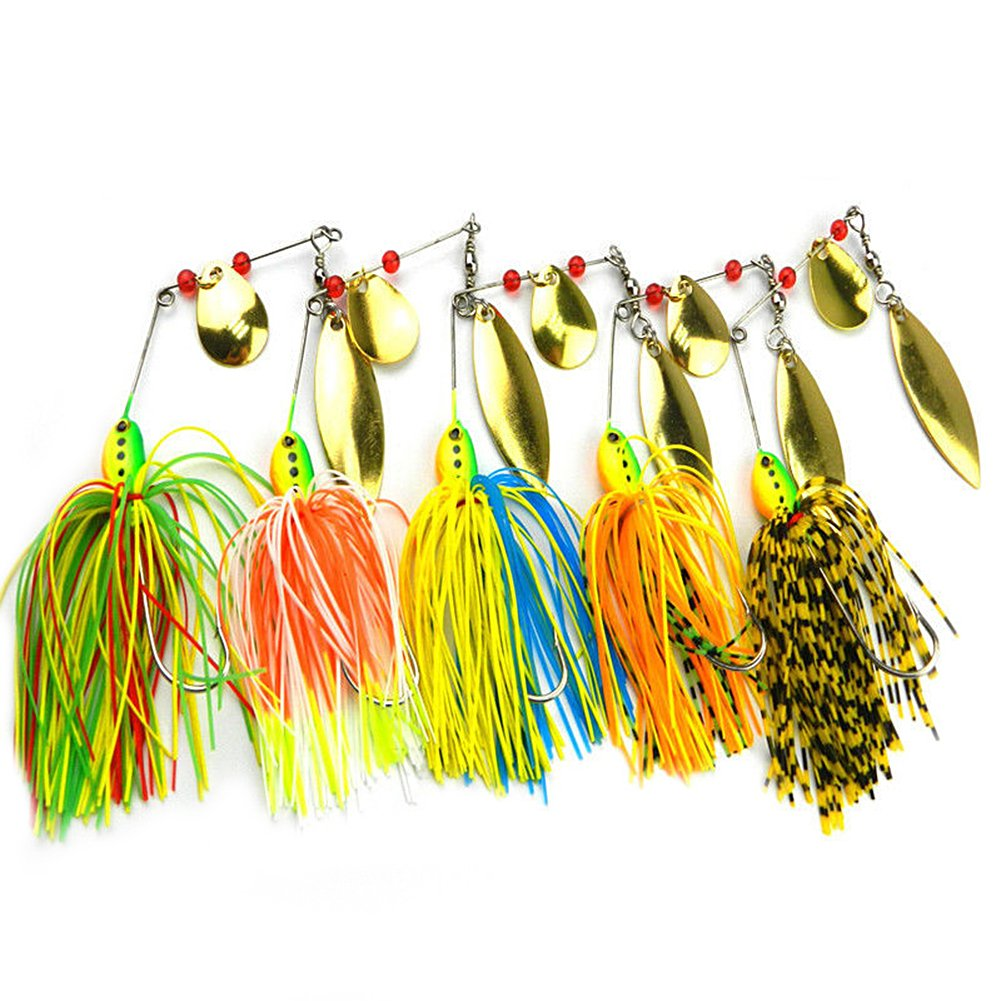 geshiglobal 5 Pieces Artificial Metal Fishing Lures Attractive Design Bass Spinner Bait with Hook Tackle Tool