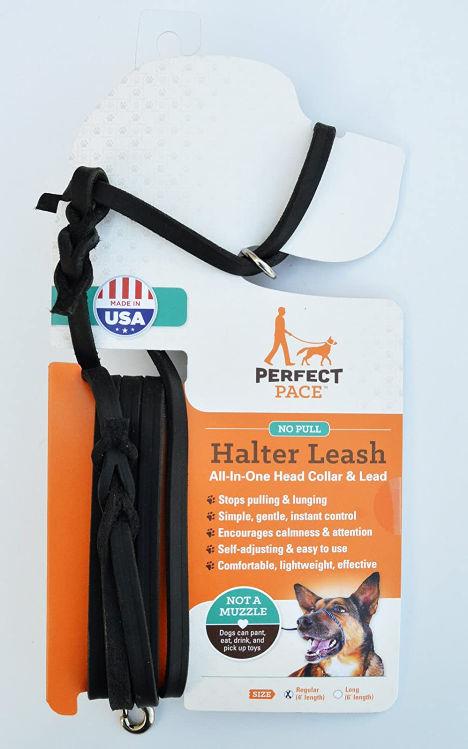 Black 4' Leather Black 4' Leather Leather Perfect Pace Halter Leash (Black, 4' Leather)