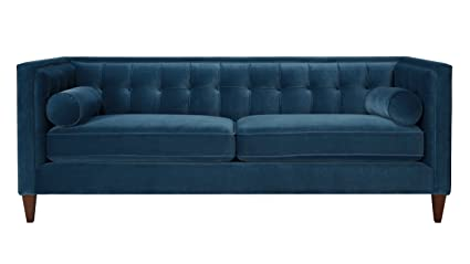 Merveilleux Jennifer Taylor Home, Sofa, Satin Teal, Velvet, Hand Tufted, Hand Painted