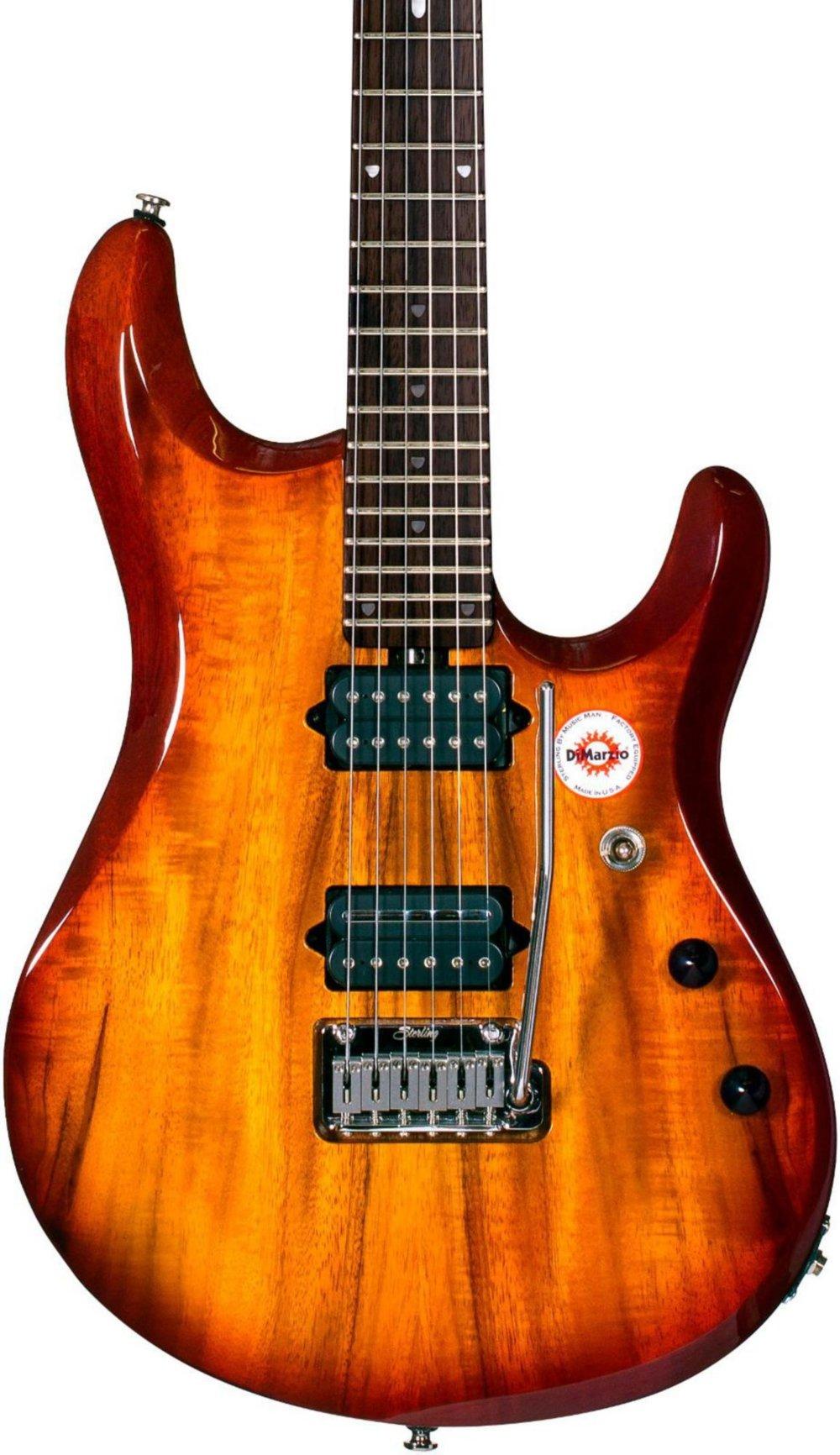Sterling by Music Man JP100D John Petrucci Signature Series Koa Top Dimarzio Pickups Electric Guitar Natural