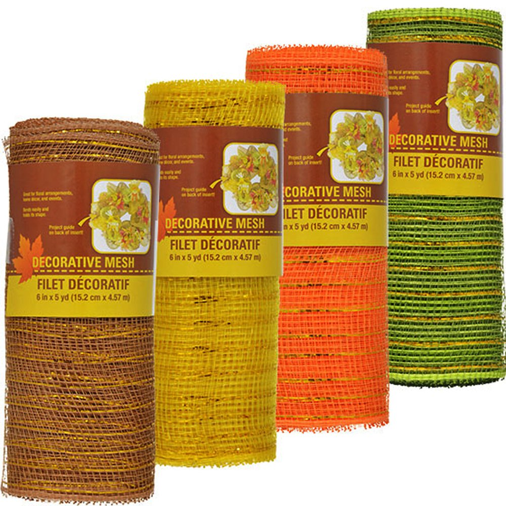 Decorative Harvest Mesh in Fall Colors Set of 4 - Orange, Yellow, Green and Brown 5 Yards each Greenbrier