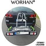WORHAN® Porte vélo sur la boule d'attelage inclinable rabattable plateforme avec feux LED FA3