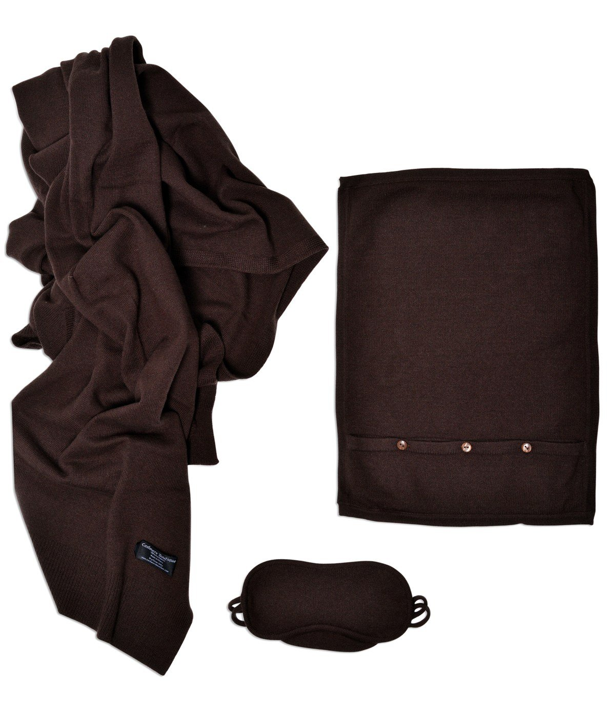 (Mocha) - Cashmere Boutique Cashmere Travel Throw Set B002U559T0 モカ