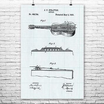 amazon com stratton acoustic guitar poster patent art print