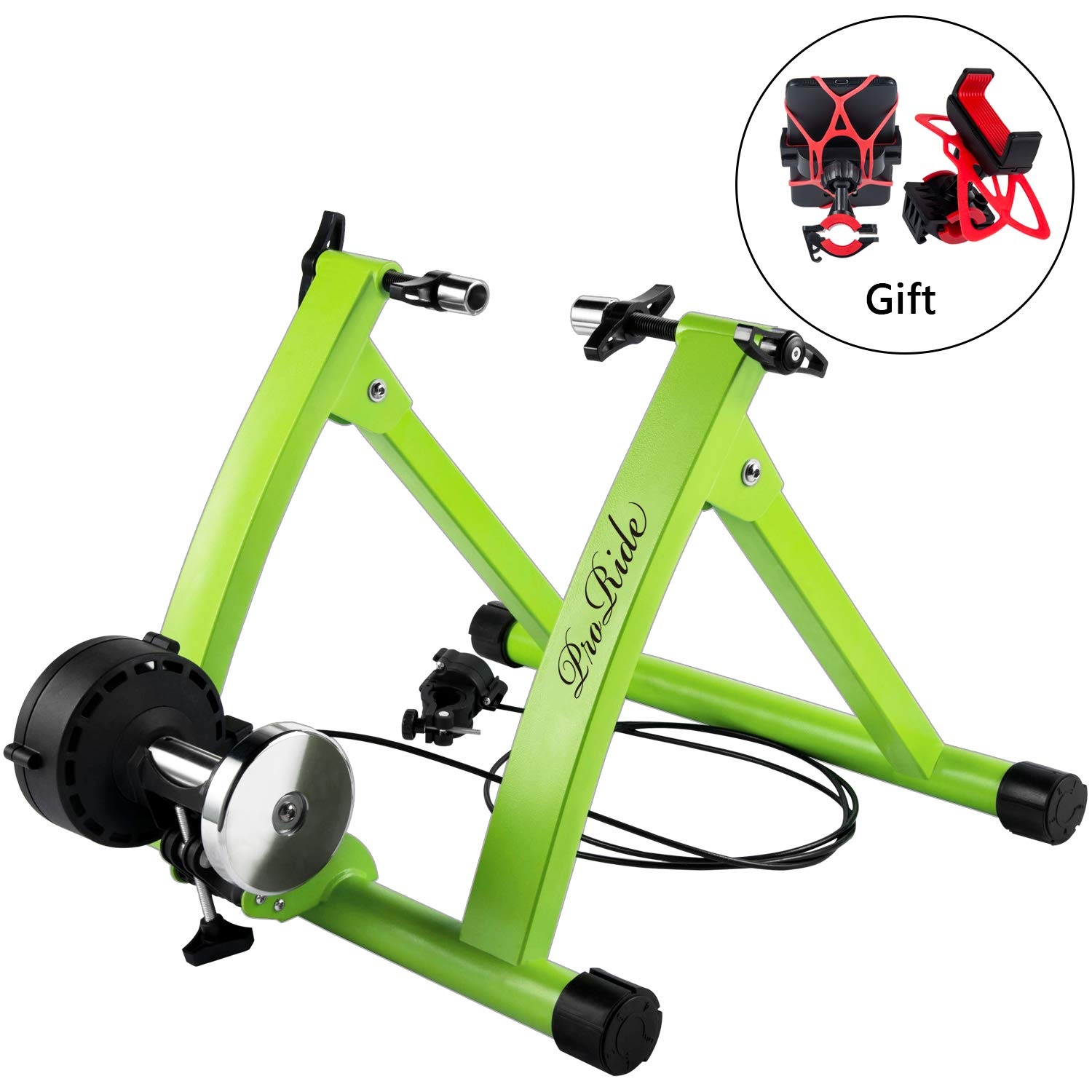 ProRide Indoor Bike Trainer Stand Bicycle Exercise Magnetic Stand with Noise Reduction Wheel  with Bike Phone Holder by ProRide