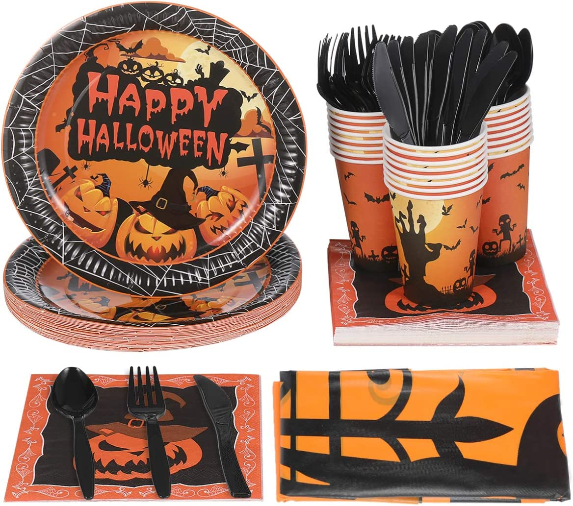 YARNOW Halloween Tableware and Decorations, 24 Guest - Pumpkin Pattern Halloween Plates, Party Cups, Napkins, Tablecloths, Serving Trays, Knives, Forks, Spoons (Orange)