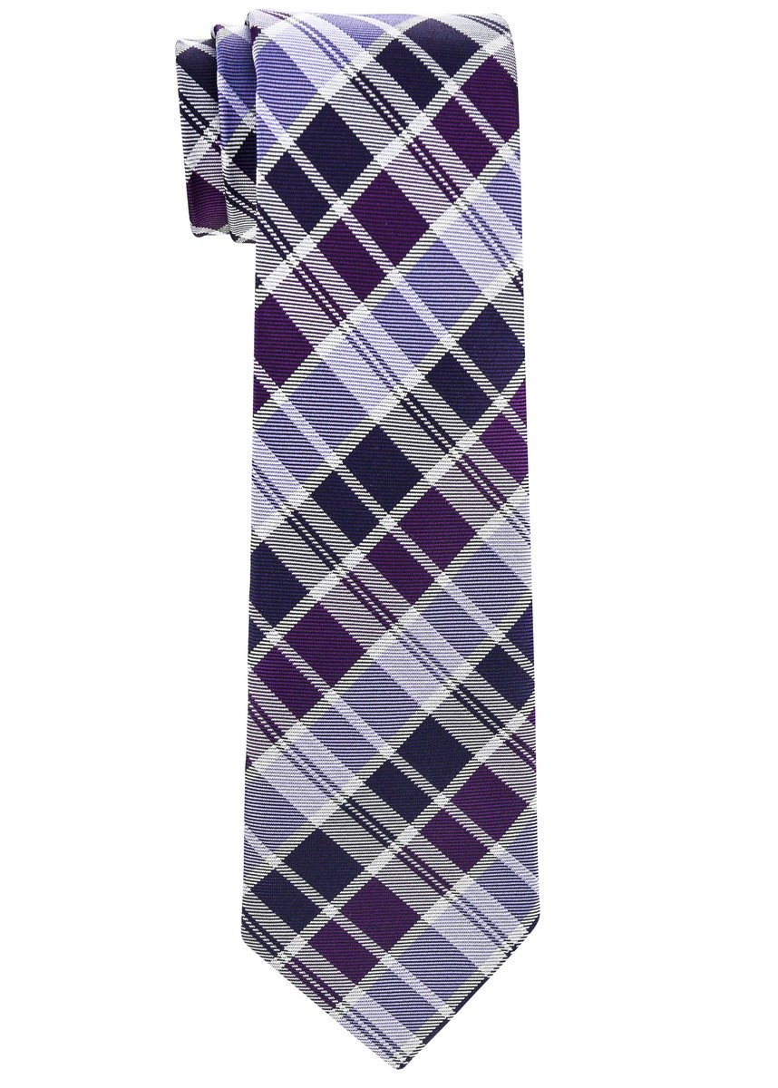 Retreez Modern Tartan Check Styles Woven Boy's Tie (8-10 years) - Purple