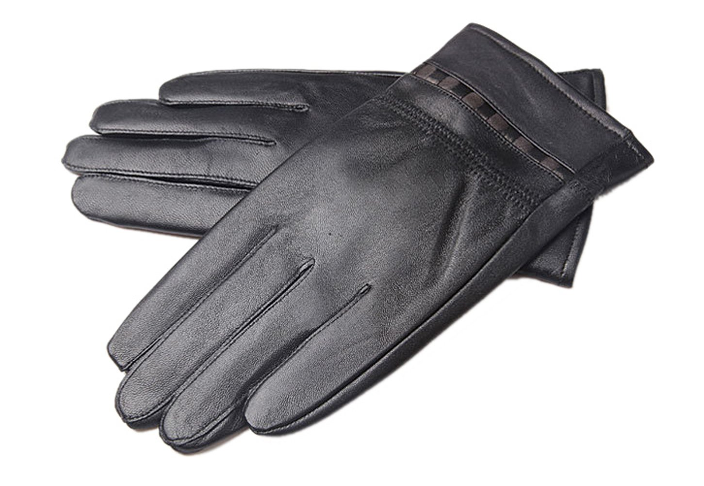 Liveinu Men's Lambskin Motocycle Driving leather Gloves for Winter Black One Size LVNU-7132-1