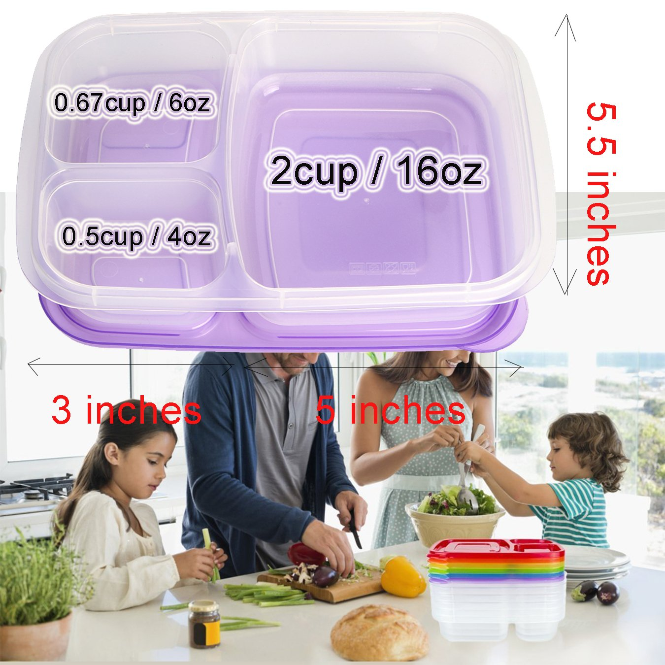Meal Prep Containers 3 Compartment 10 Pack Food Prep Containers with Lids Portion Control Reauable Freezer Food Storage Plastic Salad Stackable Bento Lunch Box, Microwave, Dishwasher Safe by SCIONE (Image #6)