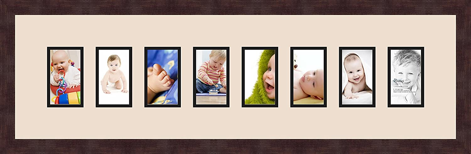 ArtToFrames 1.25-Inch Espresso Picture Frame with 4 Openings of 4 by 6-Inch and a Off White Top Mat and Black Bottom Mat