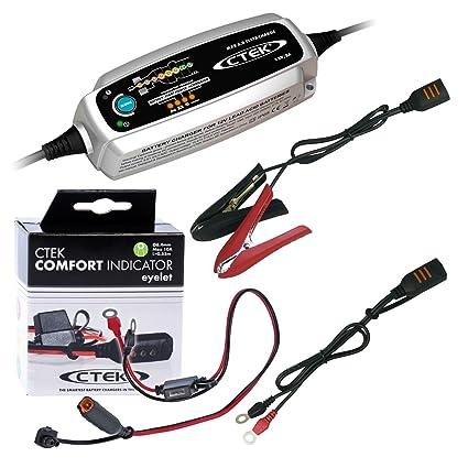Ctek MXS 5.0 TEST Charge batería Cargador + anillo Cable ...