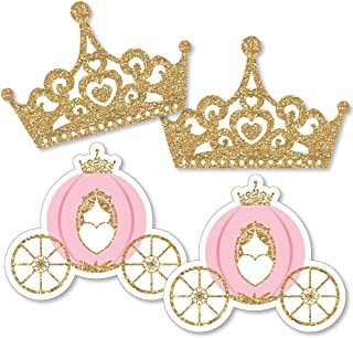 product image for Little Princess Crown - Tiara & Carriage Decorations DIY Pink and Gold Princess Baby Shower or Birthday Party Essentials - Set of 20