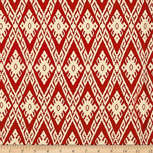 Fabric 0511962 Rayon Challis Tribal Ikat Rust/Cream Yard