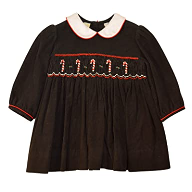 d69b9e73f641 Amazon.com: Carriage Boutique Baby Girl's Hand Smocked Holiday Dress -  Christmas Candy Cane: Clothing