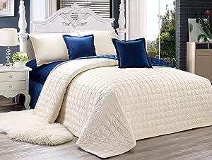 طقم لحاف مضغوط مفرش سرير وجهين لونين 6 قطع، مقاس كينغ
